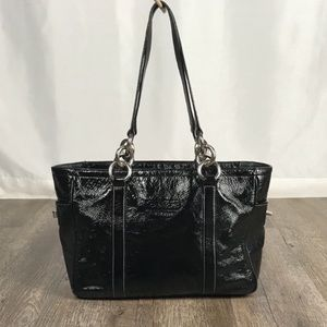 Coach black patent leather gallery tote bag